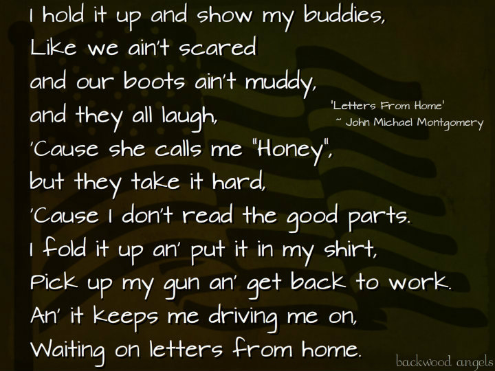 """Backwood Angels: """"Letters From Home"""" ~ John Michael Montgomery"""
