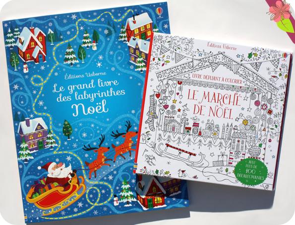 Le marché de Noël - Livre dépliant à colorier & Le grand livre des labyrinthes de Noël - usborne