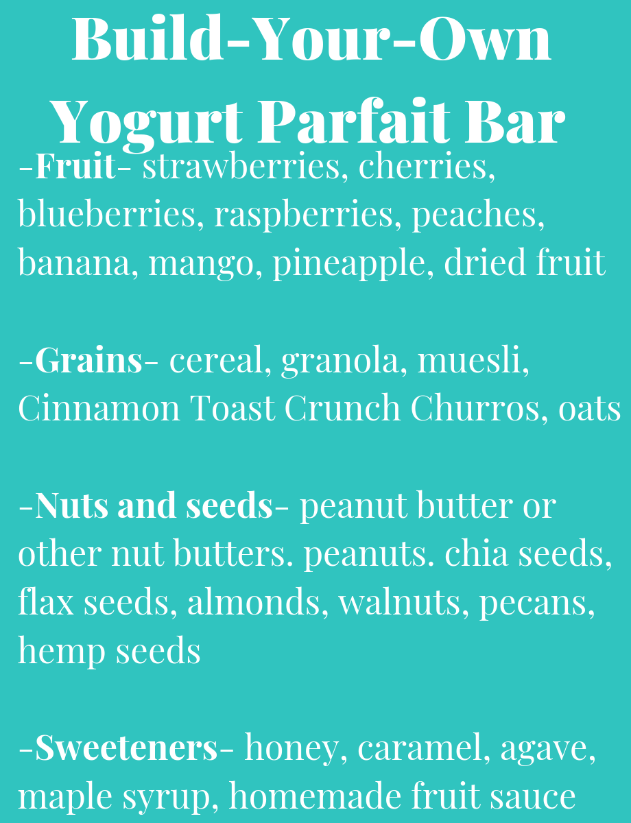 List of Build Your Own Parfait Bar toppings