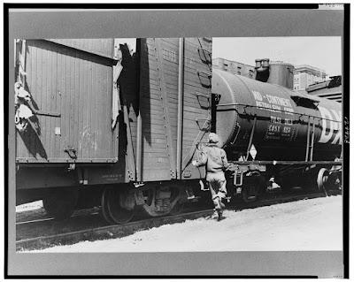 Climbing My Family Tree: Boy Hopping Train, Great Depression (in public domain; LOC)