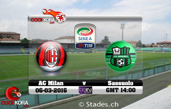 مشاهدة مباراة ساسولو وميلان اليوم 26-2-2017 في الدوري الإيطالي