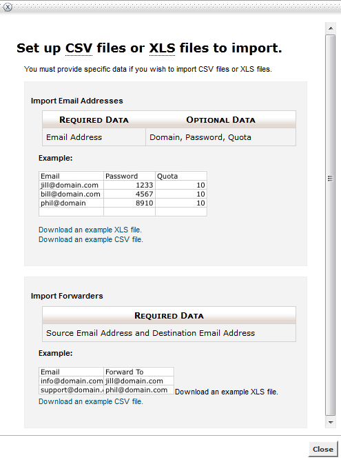 halaman panduan import email dan contoh file yang dapat di download - faberhost.com