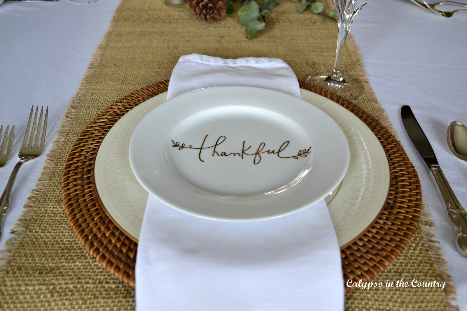 Thankful salad plate on Formal Thanksgiving Table Setting