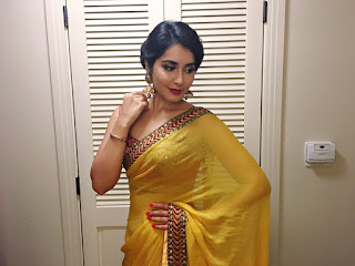 Raashi Khanna in a Designer Yellow Saree and Lace Style Blouse Choli Spicy Pics