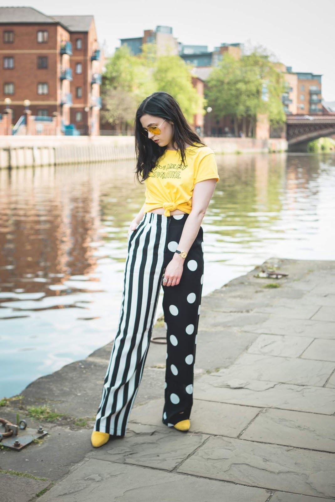 spot and stripe trousers