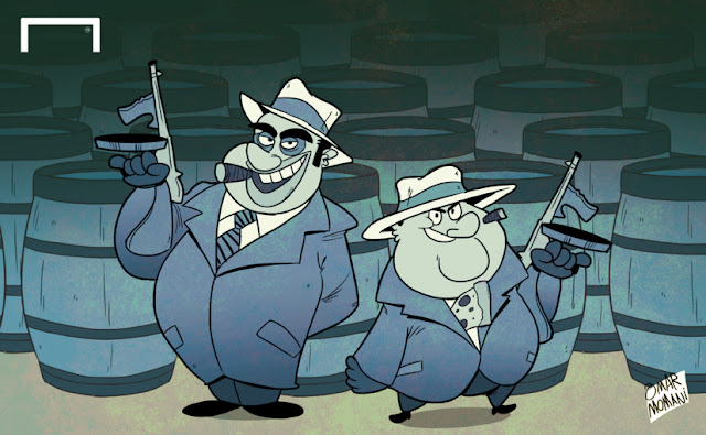 Mino Raiola and Al Capone cartoon