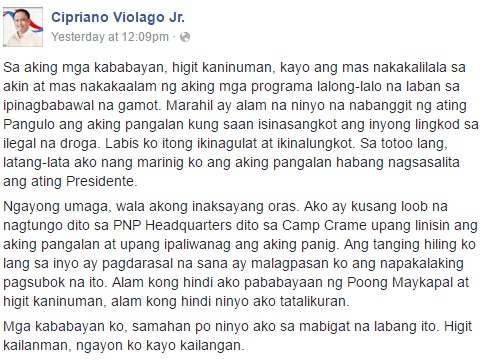 San Rafael, Bulacan Mayor Cipriano Violago Jr's statement issued on Facebook regarding allegations of his involvement in illegal drugs
