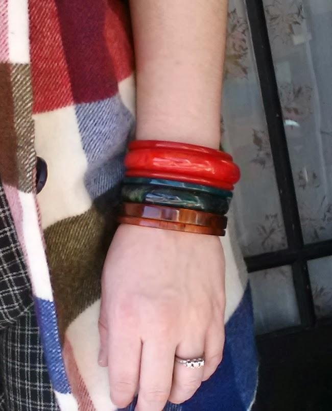 blue red and carved vintage bakelite bangle bracelets