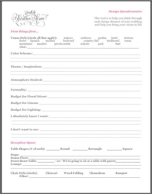 Surs Events By Heather Ham Free Stuff Design Questionnaire