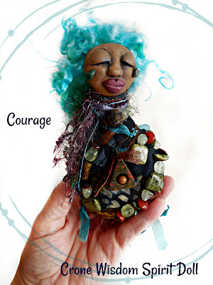 Finding Courage where the eddy meets the sierra - OOAK Beaded Spirit Doll