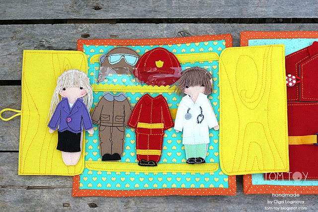 Quiet book for Ariana, Handmade personalized busy book made by TomToy, Dressing up felt doll