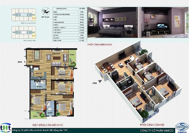 Mặt bằng căn 1B chung cư CT4 Vimeco
