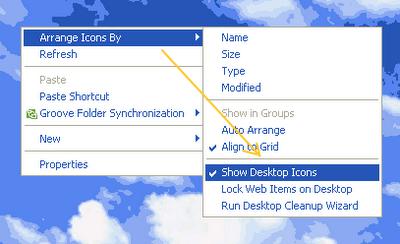 Menyembunyikan dan Menampilkan Icon di Desktop win XP