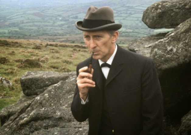 Sherlock Holmes on the moor - Peter Cushing in The Hound of the Baskervilles