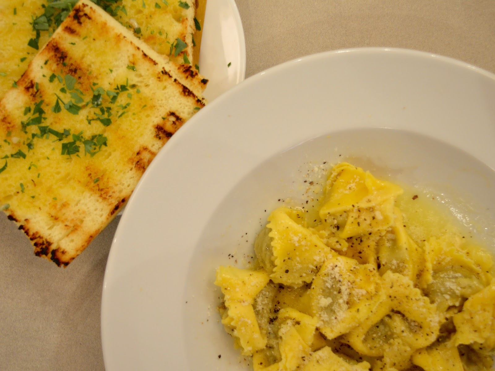 Carluccio's - intu Metrocentre | Children's Menu Review - a la carte venison ravioli and garlic bread
