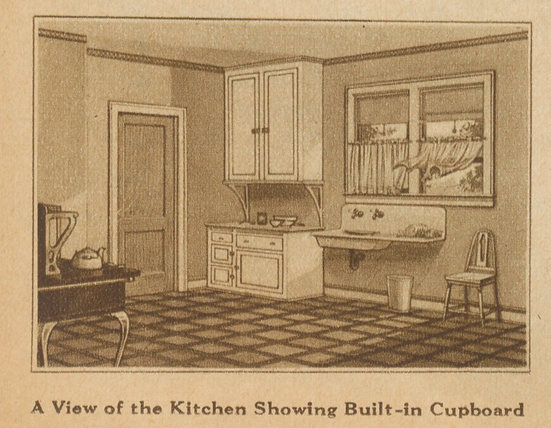 Sears Hampton model kitchen image from the 1928 catalog