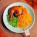 Jollof Rice And Macaroni With Cold Peas And Oven Roasted Chicken