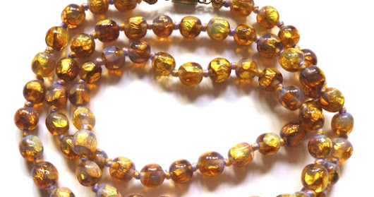 VENETIAN VINTAGE FOIL BEADS - GOLDEN YELLOW, LILAC & CLEAR GLASS