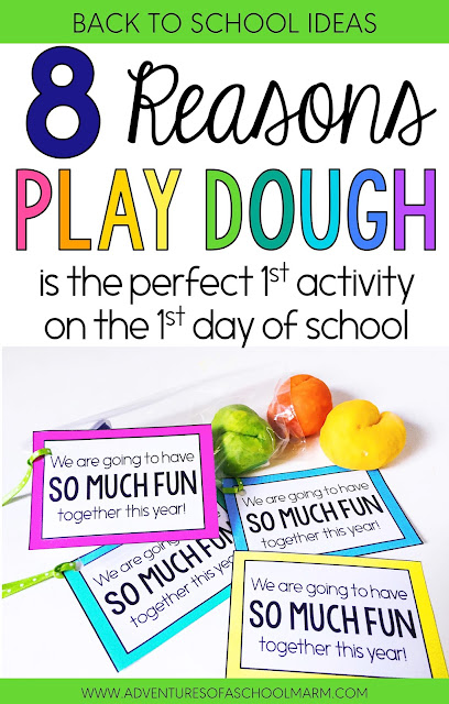 Play dough is the perfect activity for the first day back to school. It sets the tone and communicates that our classroom values hands-on learning, collaboration, creativity, and divergent thinking!