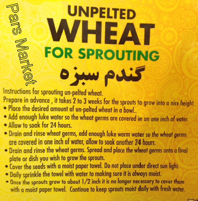 Instruction for Sprouting Un-Pelted Wheat at Pars Market