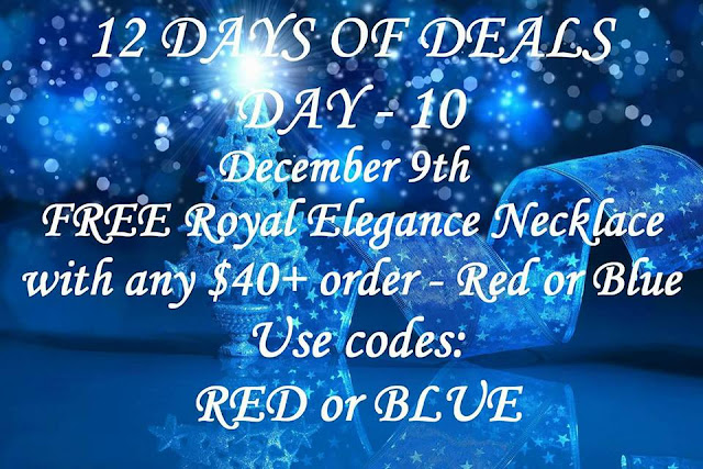 December 9: Day 10: FREE Royal Elegance Necklace, choice of red or blue, with any $40+ order ($19.99 value) Use Code: RED or BLUE at https://maryvjjj1.avonrepresentative.com/