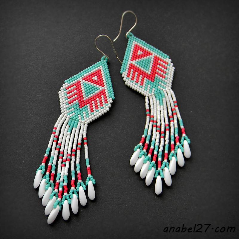 Seed bead earrings native american style