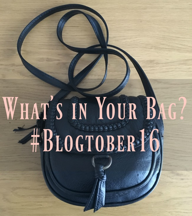 #Blogtober16-Day-12-Whats-in-your-Handbag-text-over-image-of-a-handbag