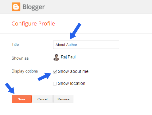 adding author profile gadget