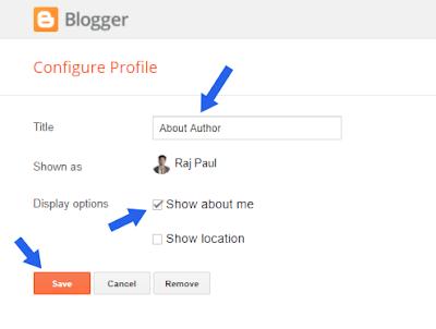 adding author profile gadget