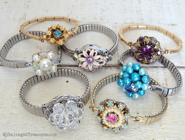 repurposed vintage clip on earrings bracelets