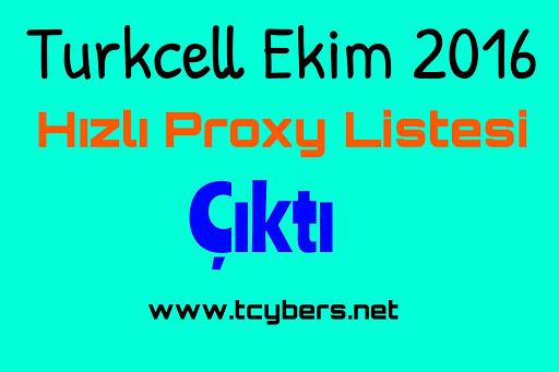 Turkcell Ekim 2016 Hızlı Proxy Listesi