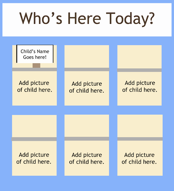 How to help preschoolers recognize their names - Who's here today? chart