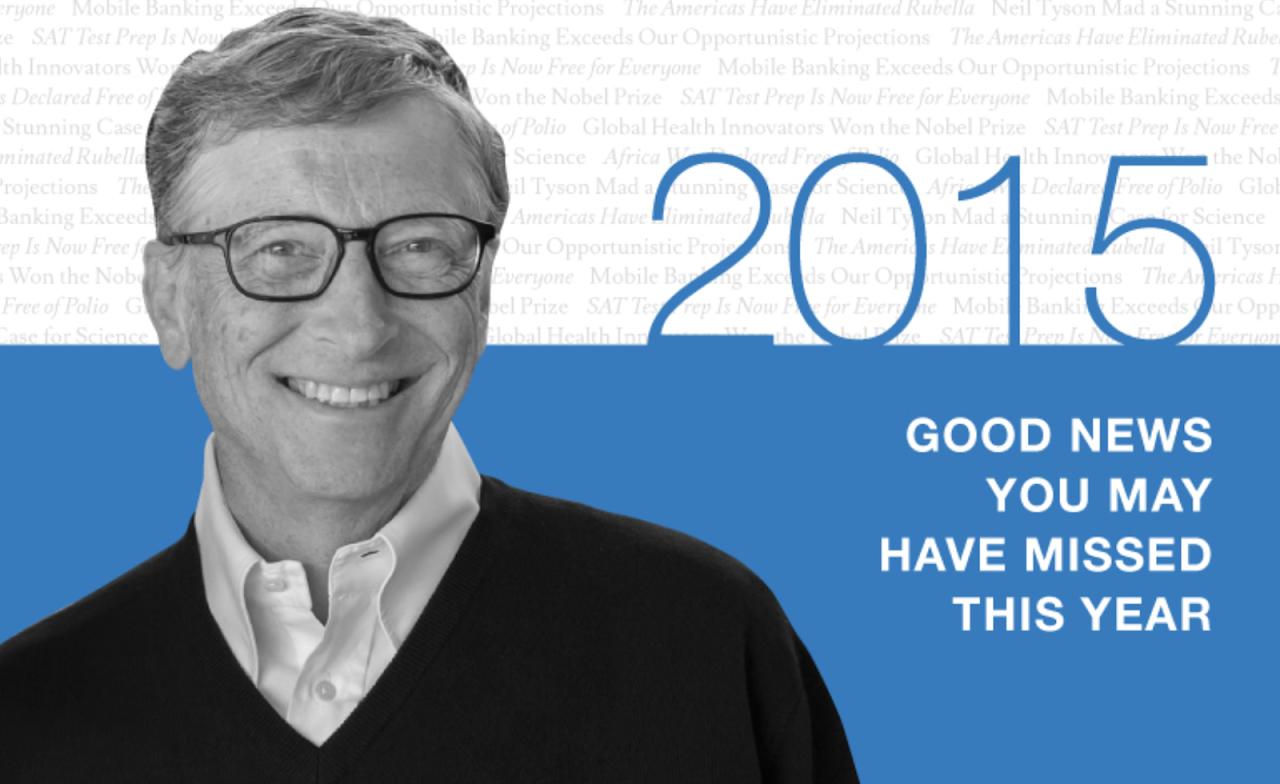 比爾‧蓋茲整理「2015年你可能沒注意到的六件事」