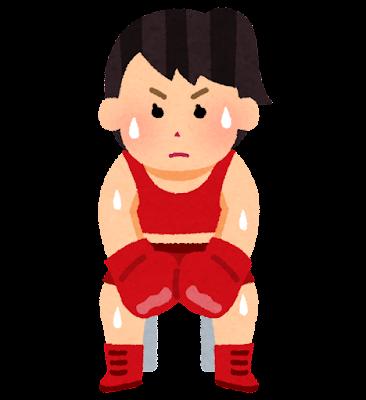 コーナーで休むボクサーのイラスト(女性)