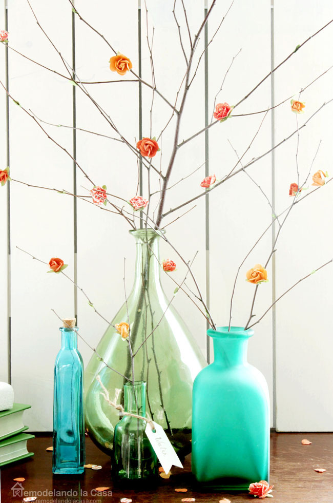 How to make a bouquet of paper flowers on branches