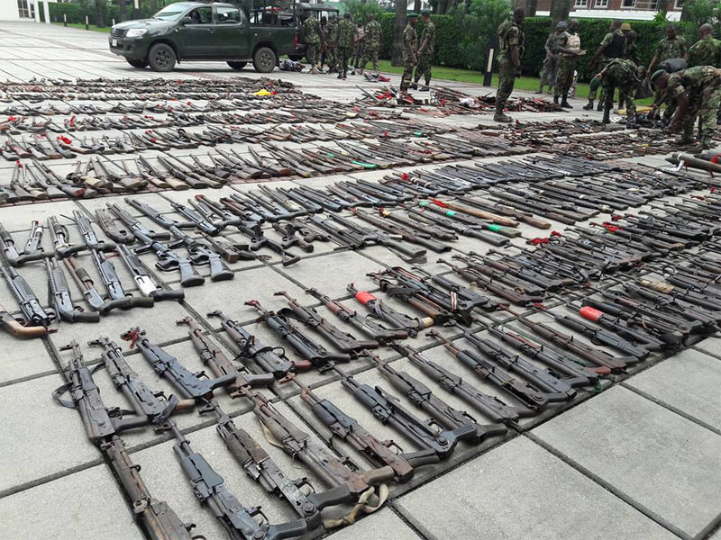 Photos: Rivers State recovers shocking amount of arms from militants