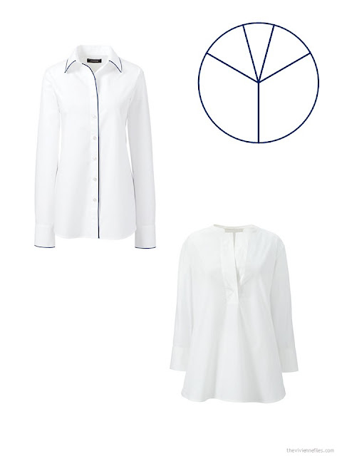 two white blouses for a business capsule wardrobe