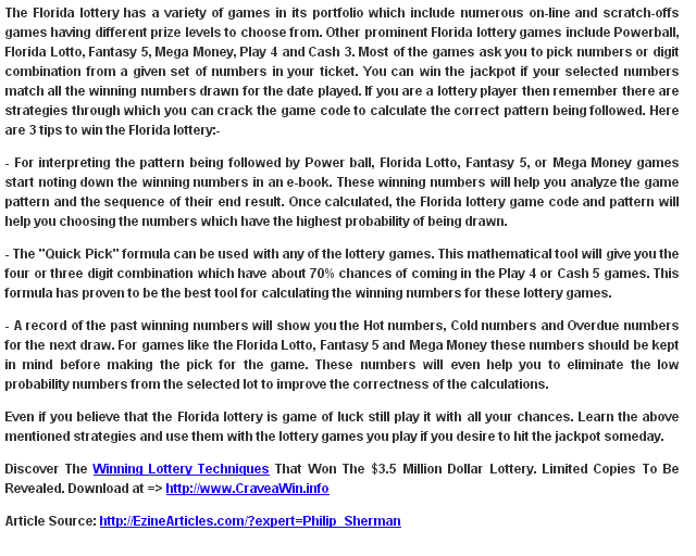 Florida Lottery - 3 Tips To Win The Florida Lottery ~ lottery florida