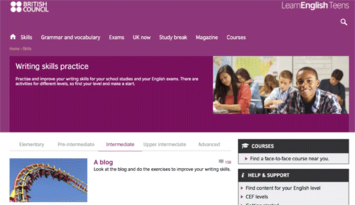 Writing skills practice on the British Council Website
