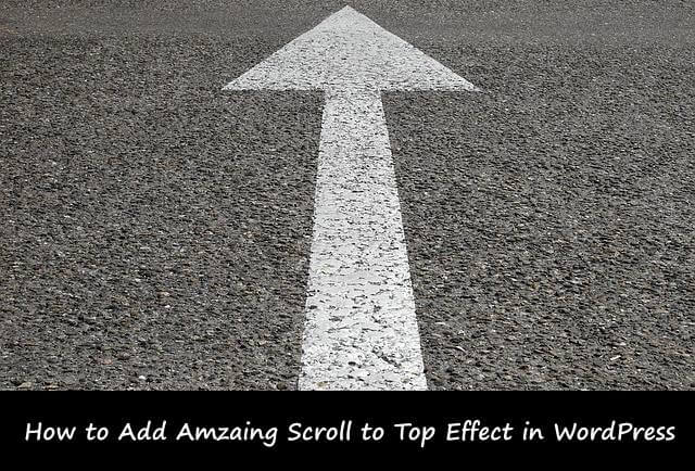 add scroll to top feature in your WordPress