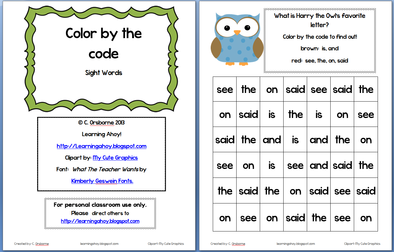 Sight Words Color By Code Freebie