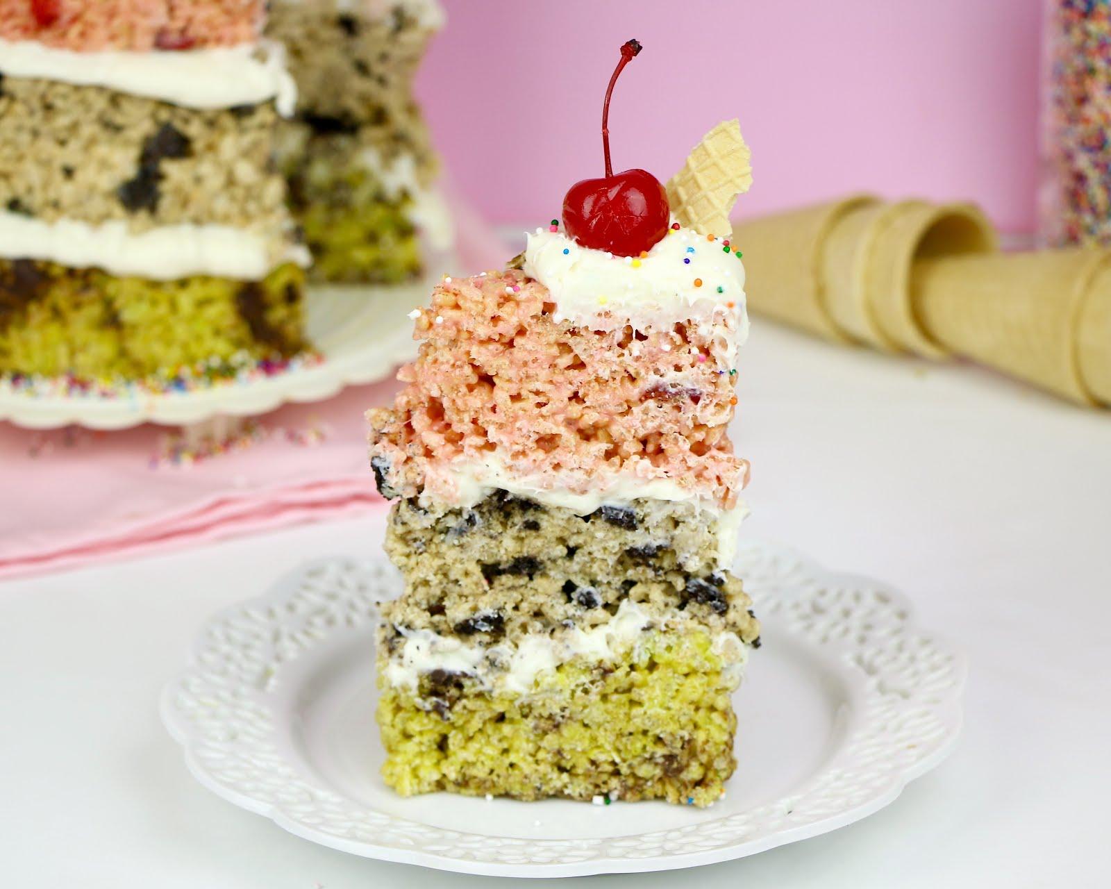 VIDEO} No-Bake Rice Krispies Treat Ice Cream Cake: Mint Chip