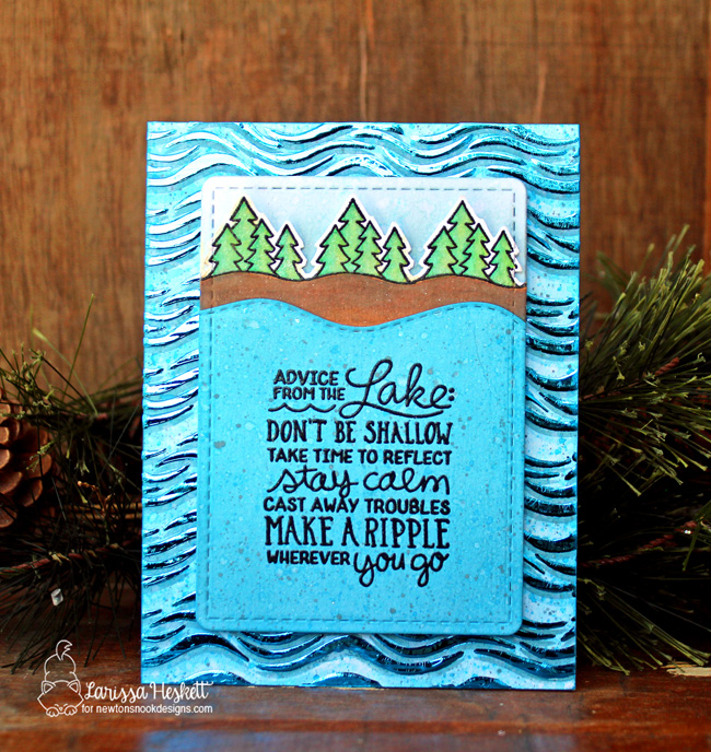 Advice from the Lake Card by Larissa Heskett | Lake Advice Stamp Set and Waves Stencil by Newton's Nook Designs #newtonsnook #handmade