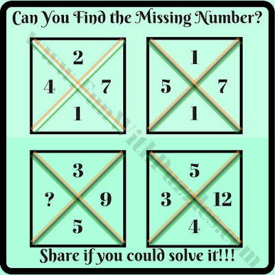 Simple math square brain teaser riddle