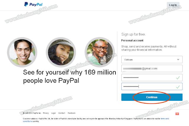 Đăng ký địa chỉ gmail và password cho tài khoản Personal Paypal