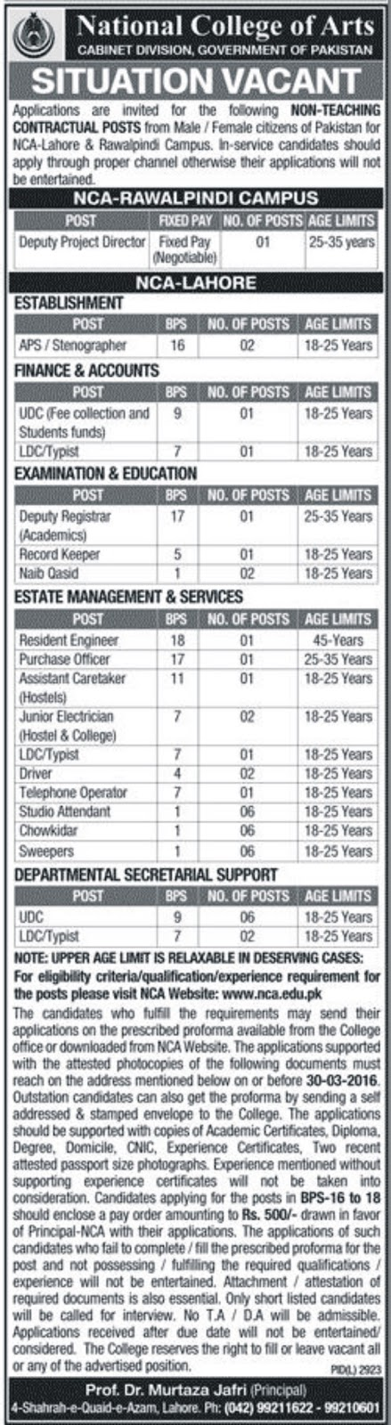 Non-Teaching Jobs in NCA  for different Posts