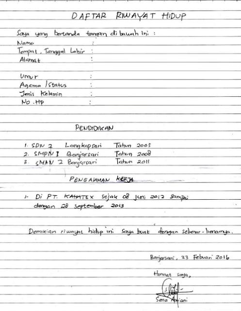 Contoh Cv Daftar Riwayat Hidup Tulis Tangan