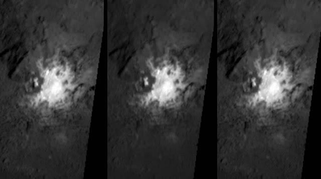El cráter Occator en Ceres y el misterioso material brillante contenido en él.