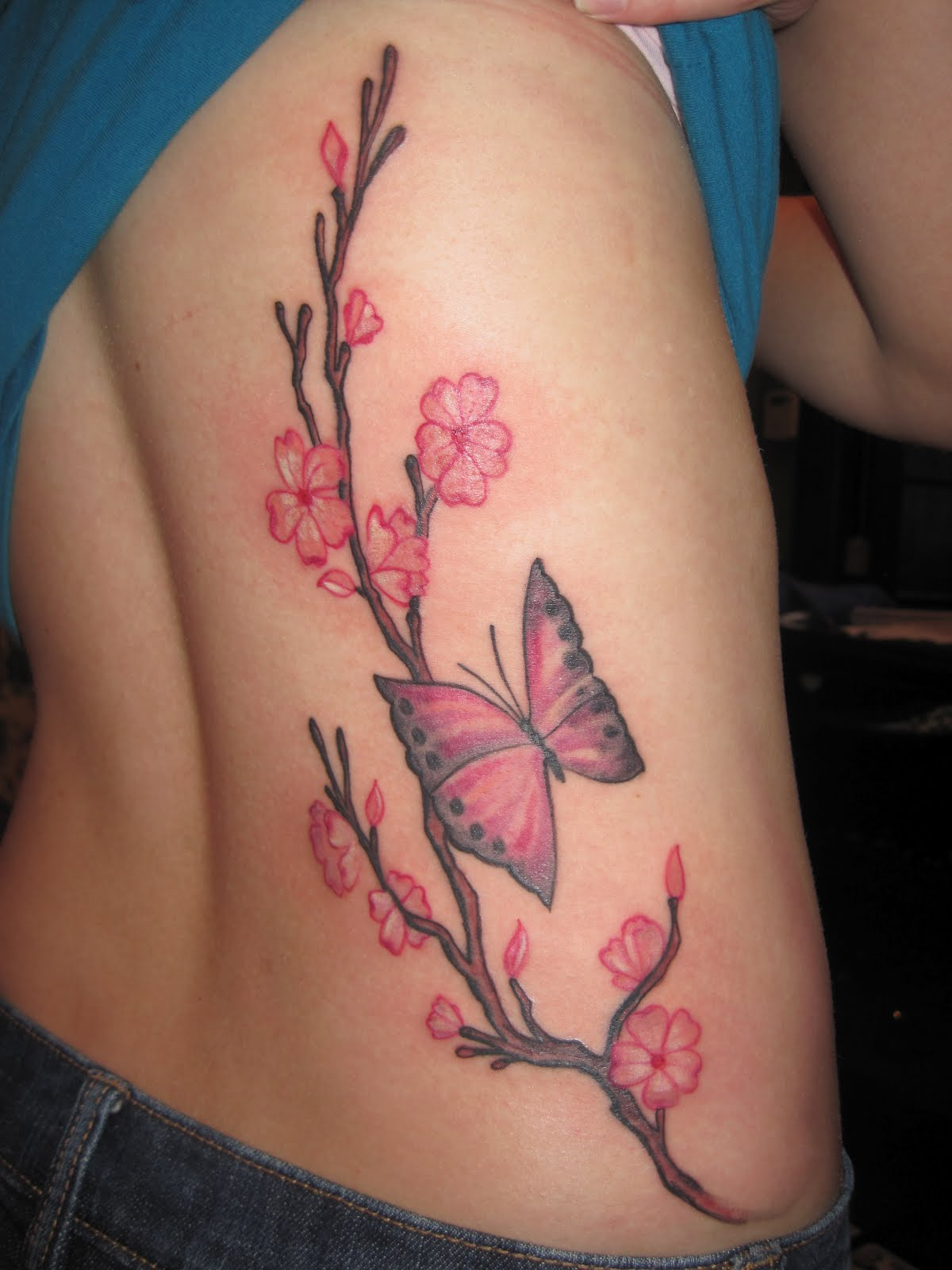 Tate Deans Tattoo Portfolio Cherry Blossoms And Butterfly