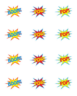 photo of free printable for a superhero party theme that shows a sheet of all three BOOM, POP, POW printables